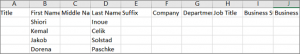 Example of Outlook .csv file opened in Excel
