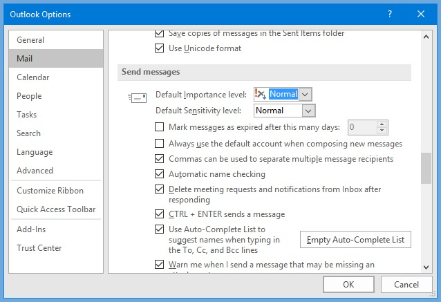 word image 1 - priority and sensitivity in outlook